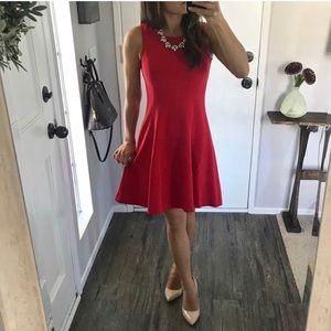 LOFT Fit & Flare Red Dress Knee Length 00P